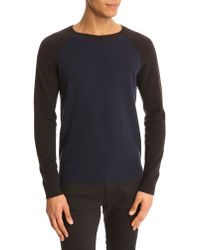Marc By Marc Jacobs Saddle Shoulder Dual-Tone Blue Sweater - Lyst