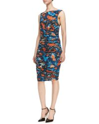 Catherine Malandrino Printed Sleeveless Ruched Jersey Dress - Lyst