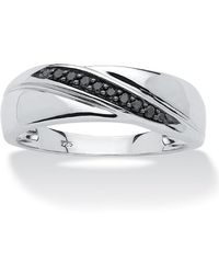 Palmbeach Jewelry - 1/10 Tcw Men's Round Black Diamond Diagonal Ring In Platinum Over .925 Sterling Silver - Lyst