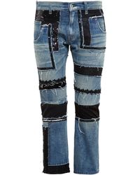 Junya Watanabe Multi Fabric Cropped Jeans - Lyst