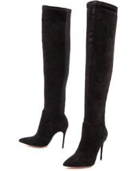 Alexandre Birman Suede Boots with Python Sole  Black - Lyst