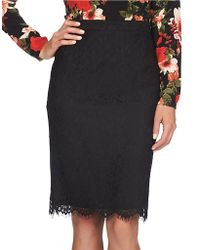 Cece by Cynthia Steffe - Scalloped Lace Pencil Skirt - Lyst