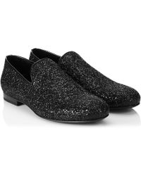 Jimmy Choo Sloane Glitterfinish Leather Slippers - Lyst