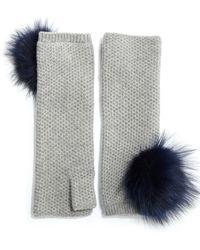 Portolano | Fox Fur Pom-pom Honeycomb-knit Cashmere Fingerless Gloves | Lyst