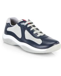 Prada Leather America'S Cup Sneakers - Lyst