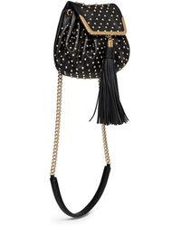 Alexander McQueen Heroine Stud Flap Leather Bucket Bag - Lyst