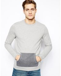 Asos Sweatshirt With Contrast Kangaroo Pocket - Lyst