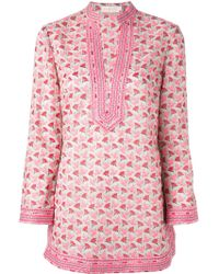 Tory Burch Flower And Dove Print Tunic - Lyst