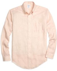 Brooks Brothers Regent Fit Stripe Linen Sport Shirt - Lyst