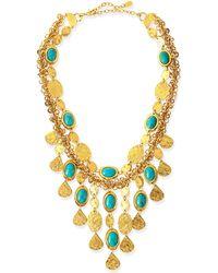Jose & Maria Barrera 24K Gold Plate & Turquoise Bib Necklace - Lyst