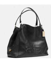 Coach Embossed Horse and Carriage Large Edie Shoulder Bag in Pebbled Leather - Lyst