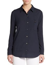 Ivanka Trump Buckle Pocket Top - Lyst