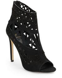B Brian Atwood Levens Lasercut Suede Ankle Boots - Lyst