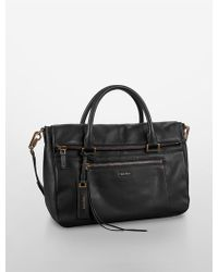 Calvin Klein Jeans Aster Leather Satchel - Lyst