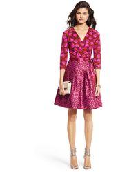Diane Von Furstenberg Jewel Silk Combo Pleated Wrap Dress - Lyst