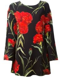 Dolce & Gabbana Carnation Print Dress - Lyst