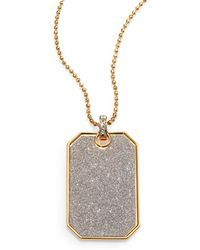 ABS By Allen Schwartz - Glitter Dog Tag Pendant Necklace - Lyst