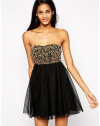 Asos Bandeau Beaded Bodice Prom Dress - Lyst