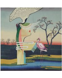 Mary Katrantzou Multicolour Flamingo Cashmere and Modal-blend Scarf - Lyst