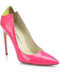 Brian Atwood Mercury Suede-Paneled Patent Leather Pumps - Lyst