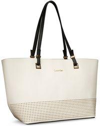 Calvin Klein White Label Scarlett Stud Detail Saffiano Leather Shopper Tote - Lyst