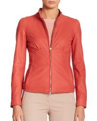 Armani Seamed Leather Jacket - Lyst