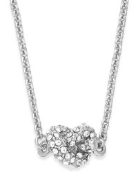 Kate Spade New York Silver-tone Crystal Knot Pendant Necklace - Lyst