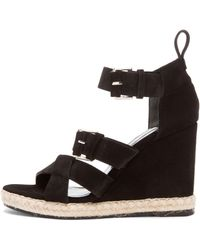 Balenciaga Wedge Espadrille Suede Sandals - Lyst