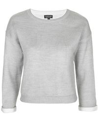 Topshop Double Layer Sweat gray - Lyst