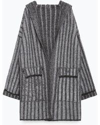Zara | Striped Hooded Coat | Lyst