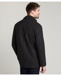 T-Tech By Tumi - Charcoal Wool Blend Inner Zip Coat - Lyst