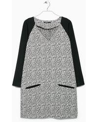 Mango Black Printed Dress - Lyst
