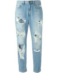 Rag & Bone Rip Detail Jeans - Lyst