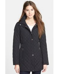 Calvin Klein Hooded Diamond-Quilted Coat - Lyst