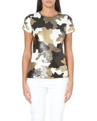 MICHAEL Michael Kors Sequinned Camouflage Top - Lyst
