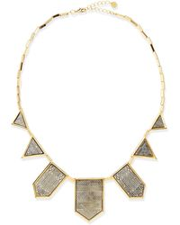 House Of Harlow Two-tone Engraved Station Necklace Gold - Lyst