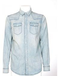 BLK DNM Light Wash Blue Jeans Shirt blue - Lyst