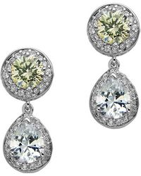 Nina - Summer Cubic Zirconia Round And Pear Cut Drop Earrings - Lyst