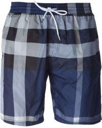 Burberry Brit Check Print Swim Shorts - Lyst