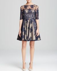 ML Monique Lhuillier Dress - Contrast Lace Fit And Flare - Lyst