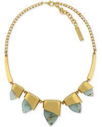 Vince Camuto - Goldtone Aruba Blue Stone Frontal Necklace - Lyst