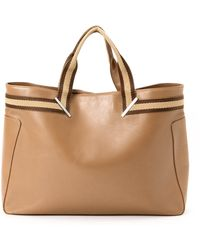 Gucci Brown Leather Tote Bag - Lyst