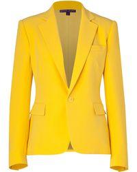 Ralph Lauren Collection Yellow Silk Cady Keaton Blazer - Lyst