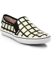 Kate Spade Leather Patterned Slip-On Sneakers - Lyst