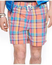 Polo Ralph Lauren Traveler Plaid Swim Shorts - Lyst