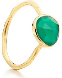 Monica Vinader Gold Vermeil Green Onyx Siren Stacking Ring - Lyst