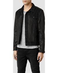 AllSaints Noir Leather Biker Jacket black - Lyst