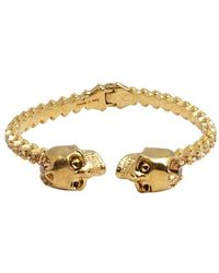 Alexander McQueen Gold And Crystal 'Twin Skull' Bangle gold - Lyst