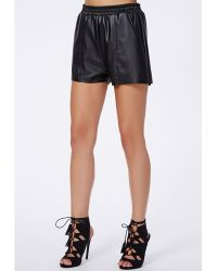 Missguided Anabelle Faux Leather Runner Shorts Black - Lyst