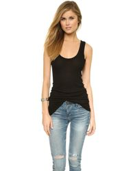 Enza Costa Bold Ribbed Tank - Black - Lyst